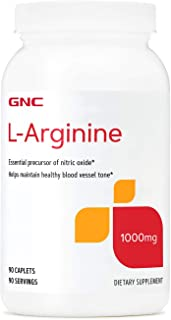 GNC L-Arginine 1000mg, 90 Caplets, Increases Nitric Oxide Production