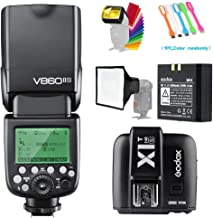GODOX V860II-S High-Speed Sync GN60 2.4G TTL Li-ion Battery Camera Flash Speedlite Light with X1T-S Wireless Trigger Transmitter Compatible for Sony Camera & 15x17cm Softbox & Filter & USB LED