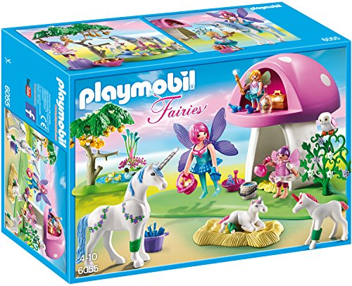 PLAYMOBIL Fairies 6055 Feenwäldchen mit Einhornplfege inkl. Feen, Einhörnern und Zubehör, ab 4 Jahren