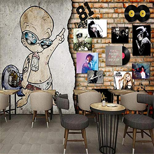 Mural Wallpaper Wall Muralseuropean Retro Rock Music Record Brick Wall Bar muur op maat behang muurdecoratie achtergrond About 300*210cm 3 stripes