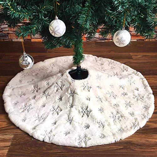 Tacobear 122cm Weihnachtsbaumdecke Baumdecke mit Schneeflocke Weihnachtsbaum Rock Weiß Plüsch Groß Christbaumdecke Weihnachtsbaum Deko für Weihnachten Neujahr Dekoration (Silber)