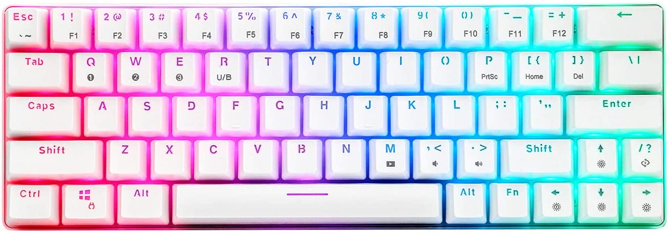 CQ63 60% Compact RGB Wireless Mechanical Gaming Keyboard, Bluetooth 5.0, Red Switches, Wired Keyboard 63 Keys for PC Tablet Laptop Cell Phone, White
