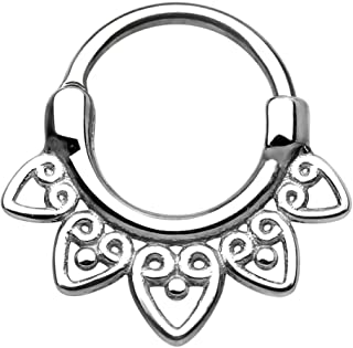 14G-16G Surgical Steel Tribal Fan Cartilage and Septum Hoop with Click Closure