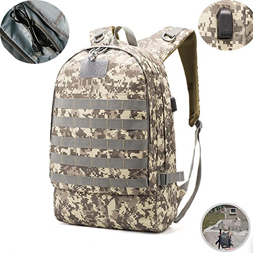 MIMI KING PUBG 3 Level Backpack Outdoor Equipment Backpack Military Rucksacks Tactical Backpack Trekking Handbag Woodland Camouflage With Data Cable