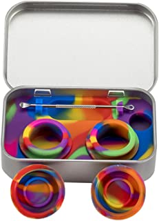 XIFEI portable stainless steel tin box 2-5ml silicone container jars,non-stick storage wax carrying case with extra stainless steel spoons (7 colors)