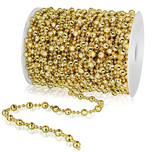99 Feet Christmas Tree Beads Artificial Pearls Beads Garland Chain Faux Pearl Beaded Trims for Wedding Christmas and Holiday DIY Supplies (Gold)
