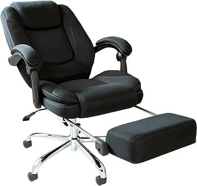 タンスのゲン オフィスチェア 170度リクライニング ボリューム座面 デスクチェア フットレスト メッシュ デスクチェア 椅子 チェア ブラック 65090075 03(63198)