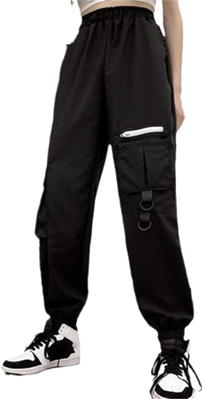 KHUGIU Streetwear Hip Hop Cargo Pants Joggers Pants Women High Waist Loose Harem Pants Baggy Tactical Trouser