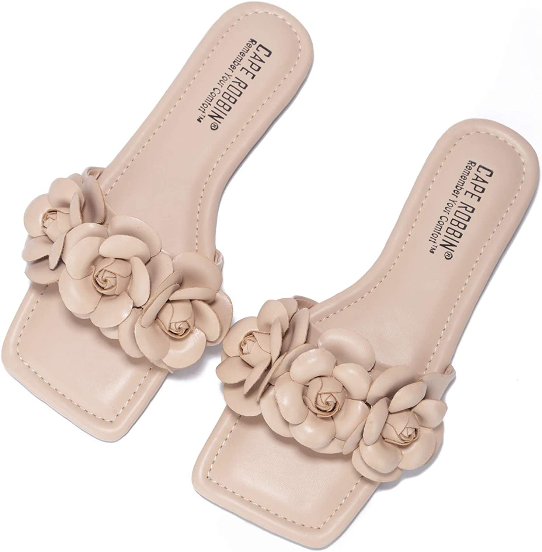 Cape Robbin LuvU Flat Sandals Slides for Women, Womens Mules Slip On Shoes