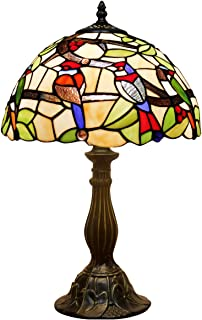 Tiffany Lamp 18 Inch Tall Sea Blue Stained Glass End Bedside Art Table Lamps Dragonfly Crystal Style Accent Antique Desk Light Decorative Living Room Bedroom College Dorm S147 WERFACTORY (S805)
