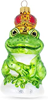BestPysanky Frog King Mouth Blown Glass Christmas Ornament 5 Inches