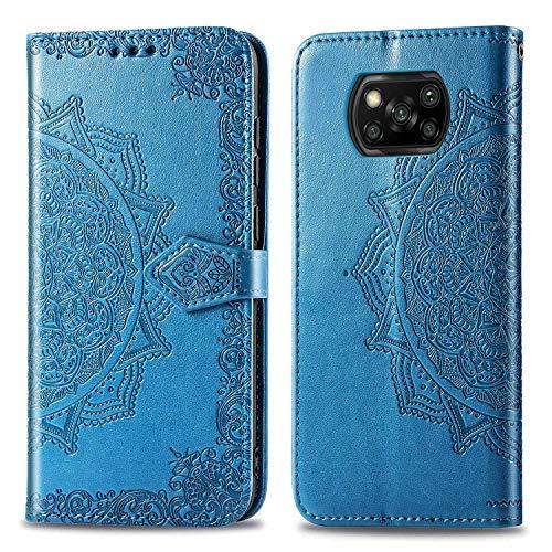 Bear Village Hülle für Xiaomi Poco X3 NFC, PU Lederhülle Handyhülle für Xiaomi Poco X3 NFC, Brieftasche Kratzfestes Magnet Handytasche mit Kartenfach, Blau