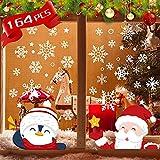 Pegatinas Navidad Ventanas, 6 hojas Pegatinas navidad escaparate Copo de nieve grande pingüino Papa Noel vinilo ventana para Cristal PVC estático Reutilizable Adhesivos Navideños Decoracione
