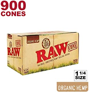 RAW 900 Organic 1 1/4 Cones - W Gallery Scoop Sticker - Pure Hemp 1.25 84mm Pre-Rolled Cones - 26mm Filter Tips - Natural Unbleached Unrefined Rolling Papers - Bulk Pack