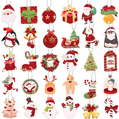 150 Pieces Christmas Tags with Ribbon Tie Strings Glitter Foil Christmas Tag Labels Christmas Holiday Tags for DIY Xmas Present Wrap and Label Package Name Card (30 Designs)