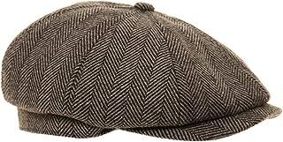 Black Grey Herringbone Newsboy 8 Panel Baker Boy Tweed Flat Cap Mens Gatsby Hat