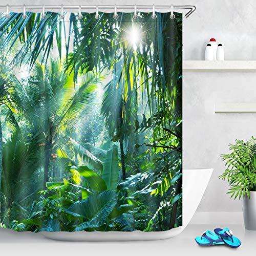 LB Tende da Doccia Foresta Tropicale 150X200CM Foglia di Banana nella Giungla Verde Tende da Bagno con Ganci Impermeabile Antimuffa Poliestere Casa Decorazione