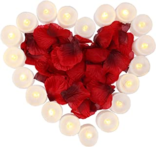 obmwang Pack of 24pcs Realistic Flameless LED Tea Light Candles and 1000pcs Dark Silk Rose Petals Artificial Red Rose Flower Petals, Ideal for Valentine's Day, Proposal, Wedding, Anniversary, Honeymoo