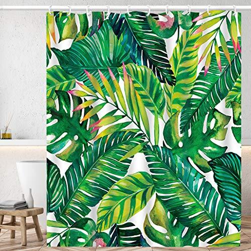 Huryfox Waterproof Shower Curtain Set with 12 Hooks Bathroom Décor Curtains, Tropical Bath Curtain for Bathtub (Dark Green Leaf, 72x72 Inch)