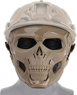 DokFin Tactical CS Mask, Skull Face Protection Mask for Airsoft/Paintball/BB Gun/CS Game/Hunting/Shooting, Scary Helmet for Halloween, Cosplay, Costume Party, Play Trick and Movie Prop