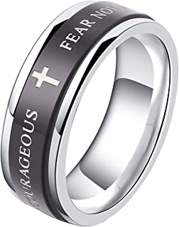 ALEXTINA 7MM Black Stainless Steel Bible Verse Isaiah 41:10 Joshua 1:9 Christian Ring Spinner Wedding Band Size 6 to 12