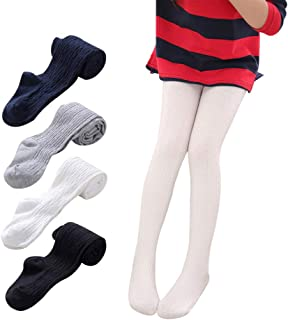 Ehdching 1/2/3/5 Pack Baby Toddler Girls Candy Colors Cable Knit Cotton Tights Pantyhose Leggings Stocking Pants