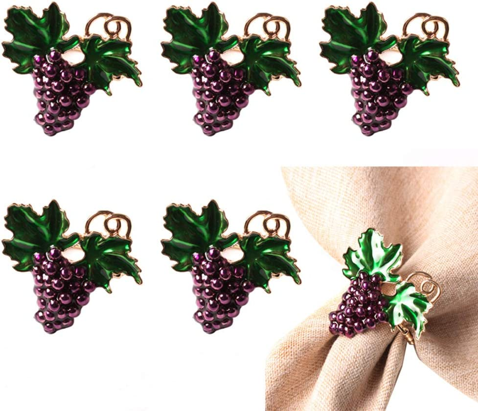 ZHUYIYI 6 Pieces Napkin Ranking TOP8 Fruit Save money Rings Grape Buckles