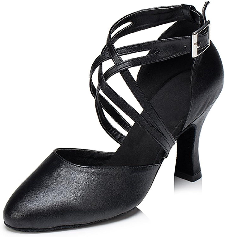 Misu Women's Closed Toe Suede Sole Latin Salsa Tango Practice Ballroom Dance shoes with 3.3  Heel Black