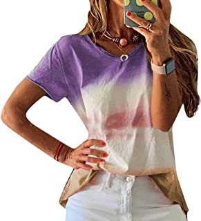 Loyomobak Womens Plus Size Short Sleeve Loose Fit Summer Gradient Color Blouse T-Shirt Top