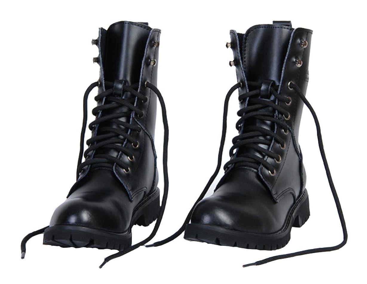 掃く交通渋滞十一本革 ブーツ メンズ/レディース ワークブーツ エンジニアブーツ メンズシューズ 防水 防滑 ブラック