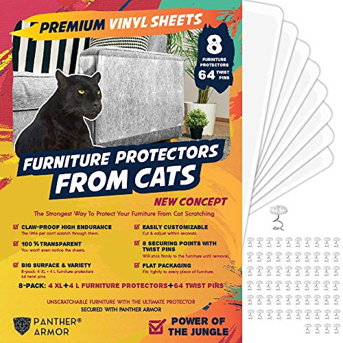Panther Armor - 8(Eight)-Pack Furniture Protectors from Cat Scratch – Couch Guards for Cats - 4-Pack XL 17'L 12'W + 4-Pack Large 17'L 10'W Cat Scratch Deterrent - Couch Corner Cat Scratch Repellent