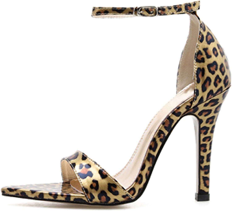 HuangKang High Heel Ladies Sandals Leopard Grain one Buckle Strap Thin Heel Women shoes Sexy Heel 10Cm Gladiator Sandals