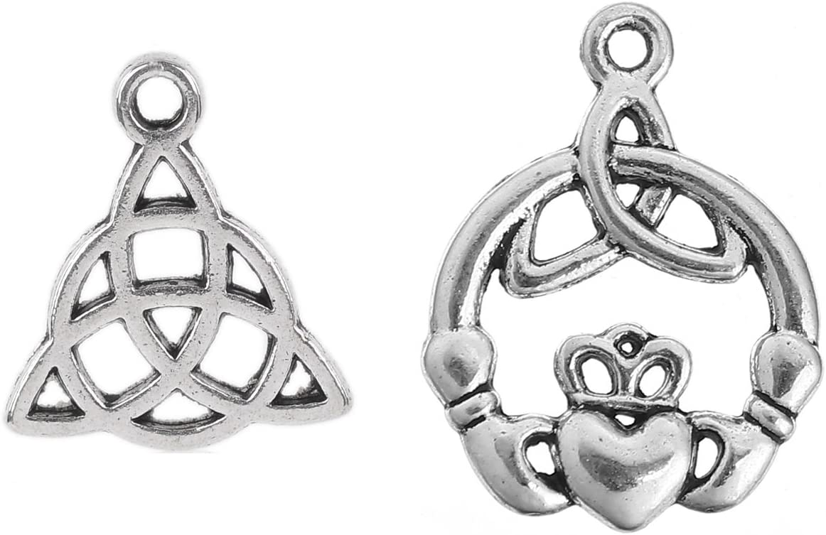 JGFinds Celtic Knot Charms, Triquetra Knot and Claddagh, Antiqued Silver Tone Charms, 100 Pack (50 of Each)