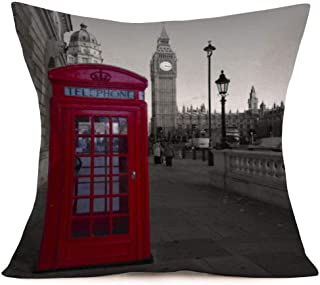Periódico Retro Labios Rojos Cabina de teléfono Té Bandera de Londres Fundas de Almohada Fundas de Almohada Funda de cojín Decorativa para sofá de casa 18 'x 18