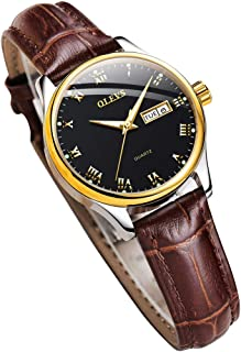 Womens Wrist Watches Ladies Female Leather Band Brown Fashion Gold Waterproof Casual Stainless Steel Quartz