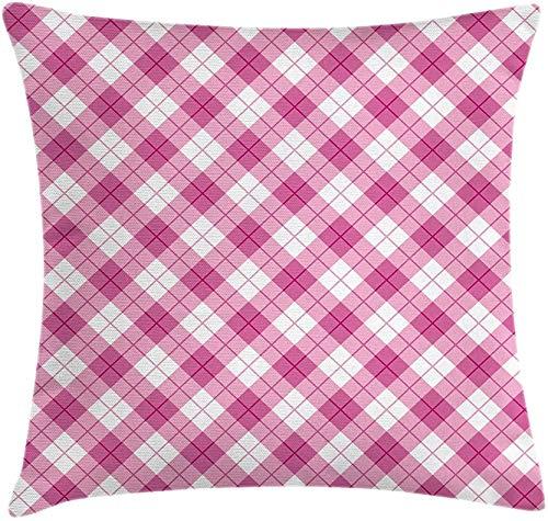 Keyboard cover Funda de cojín para el Día de la Madre, diseño abstracto en diagonal geométrico, color pastel, diseño testado para niñas, 18 x 18 pulgadas, color fucsia pálido, rosa y blanco