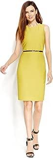 Women's Yellow Textured-Knit Belted Sheath Dress Size 10P