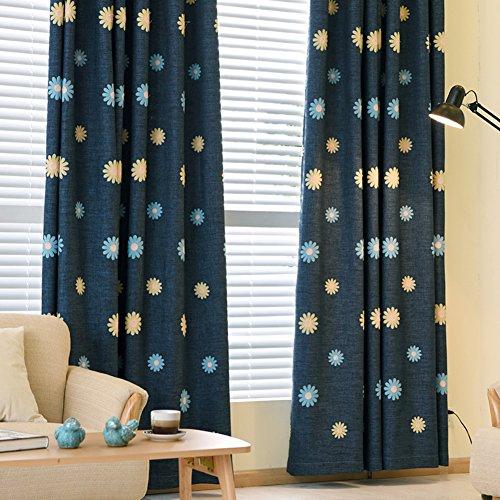 XGXQBS Gordijnen voor vitrine oogschaduw-gordijnen, geborduurde gordijnen voor kinderkamer, woonkamer, decoratie, 1 stuk 150x270cm(59x106inch) Blauw
