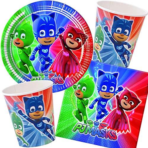 Procos/Carpeta 37-TLG. Party-Set * PJ Masks * für Kindergeburtstag & Mottoparty | mit Teller + Becher + Servietten + Deko | Kinder Motto Pyjama Helden Catboy Gecko