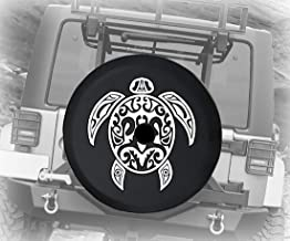 JL Spare Tire Cover Sea Turtle Diving Beach Marine Life Salt Ocean for JL Jeep Wrangler Accessories Black Size 32 Inch with Grommets