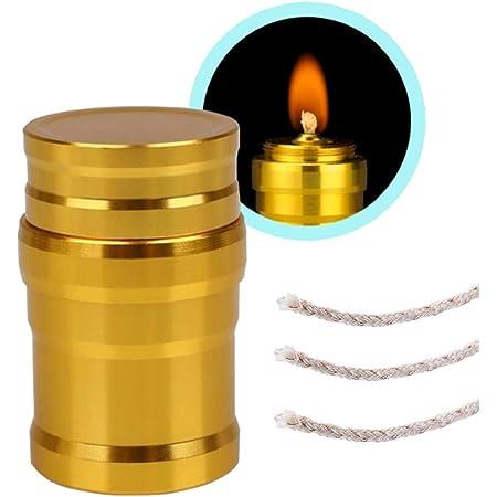 アルコールランプ オイルランプ ミニ 綿の芯 3本付き ゴールド アウトドア キャンプ ハイキング 旅行用品 携帯便利 ライト 便利 耐久性