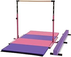 Joom Beem Gen 2 Pink Adjustable (3'-5') Horizontal Bar and 8ft Folding Mat Balance Beam Combo Gym Set