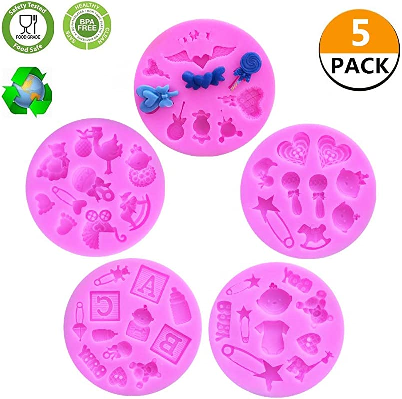 CCUT Cute Cake Fondant Mold Baby Shower Theme Mini Cake Fondant Mold Kitchen Baking Mold Cake Decorating Moulds Chocolate Modeling Tools Set Of 5