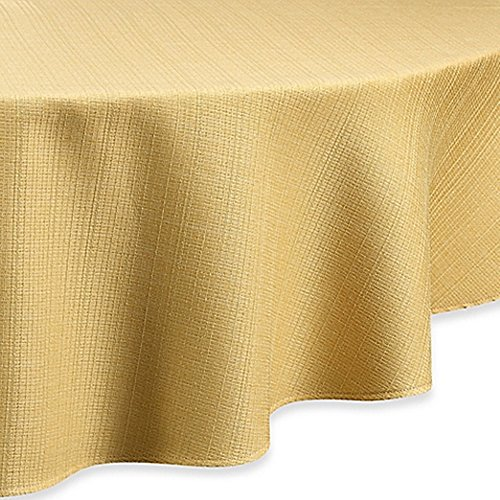 Noritake Colorwave Contemporary Round Tablecloth, 100% polyester, Machine Wash Tablecloth (90-inch, Mustard)