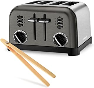 Cuisinart CPT-180BKS Metal Classic Toaster Bundle with Norpro Magnetic Bamboo Tongs - 4 Slice (Black Stainless)