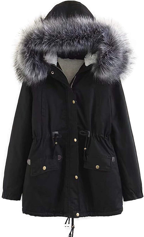 Yeokou Women's Long Sherpa Lined Drawstring Waist Hooded Winter Coat Jacket Parkas