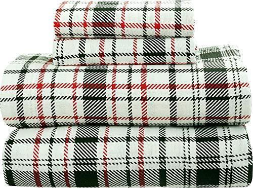 Bliss Casa - Juego de sábanas de franela 100% algodón de 4 piezas, bolsillos profundos de g/m² alto, cálidas y súper suaves y transpirables El juego de cama de franela...