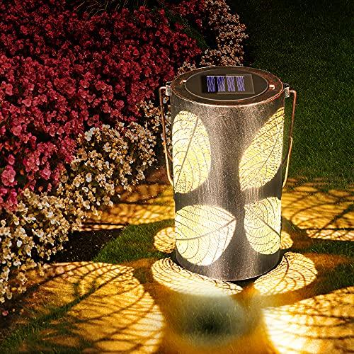 Solar Laterne Außen, LED Solar Laterne Solarlampen für Außen, Solar Garten Hängende Laterne Zylinderförmige Nachtlicht Wasserdicht IP44 mit Lichtempfindlichkeit für Patio, Party, Wand, Tisch, Baum