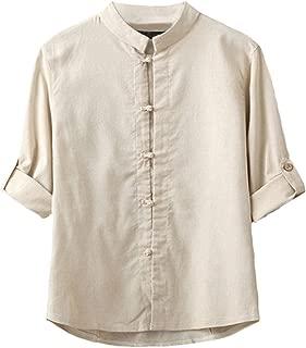 Men's Linen Cotton Mandarin Collar Roll-Up Sleeve Frog-Button Shirt