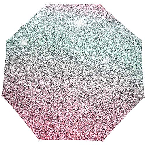 EW-OL Glitzer Regenschirm Winddicht Regen Automatik Öffnen Schließen Klappbare Reise Anti-UV Sonnenschirme